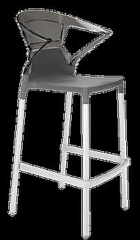 Барное кресло Papatya Ego-K антрацит сиденье, верх прозрачно-дымчатый