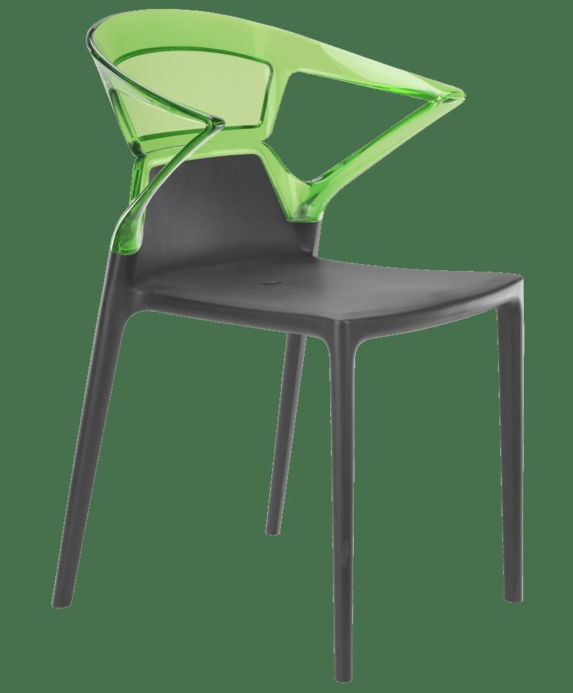 Кресло Papatya Ego-K антрацит сиденье, верх прозрачно-зеленый
