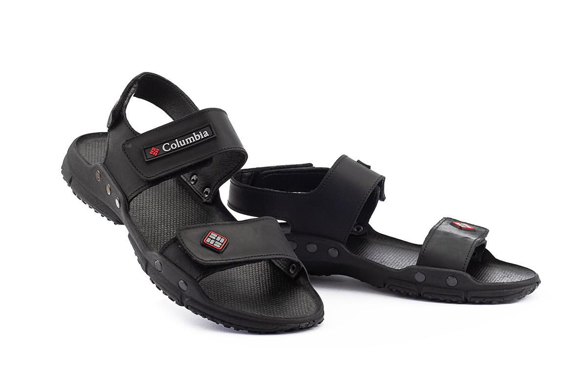Мужские сандали кожаные летние черные CrosSav Sport 218