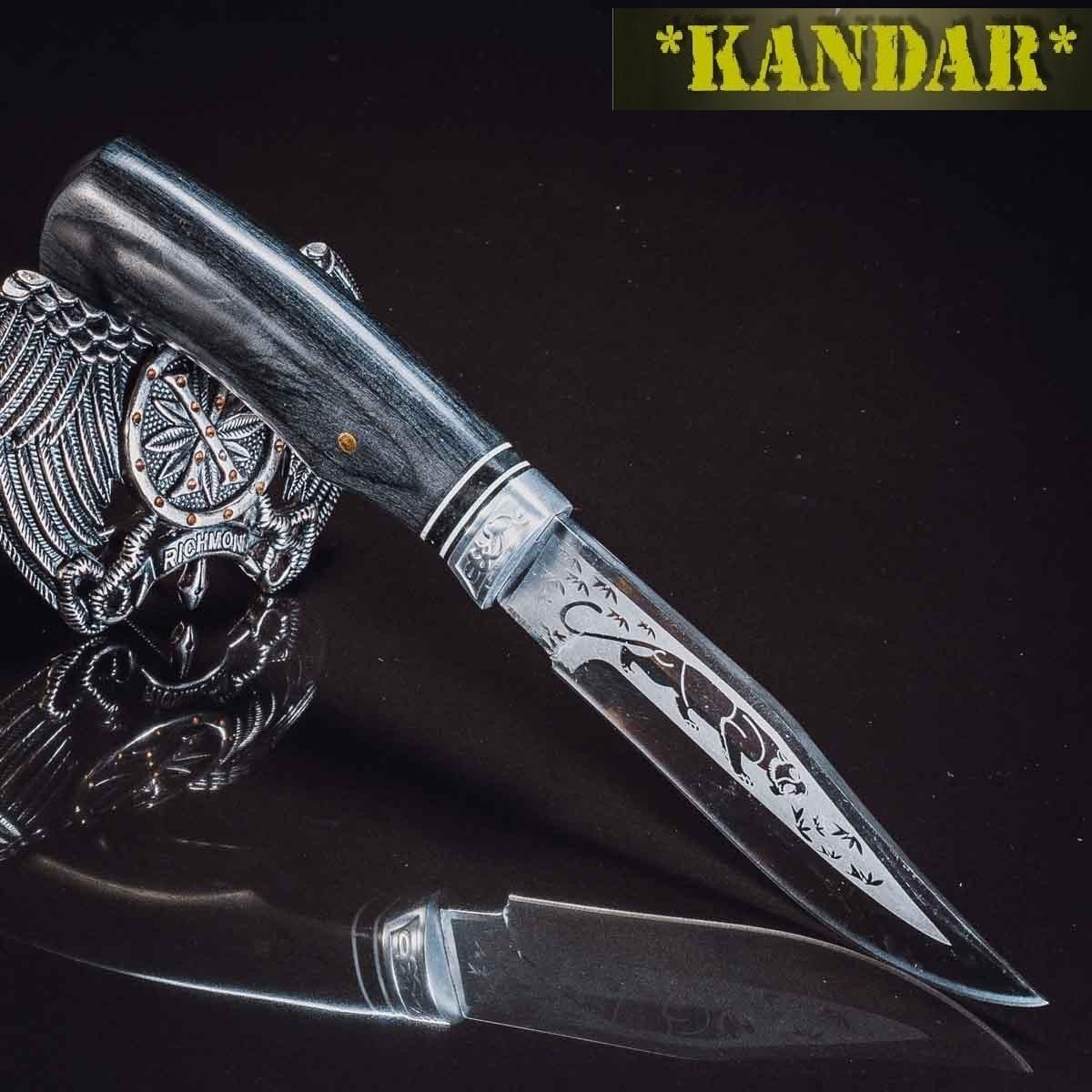 Нож Kandar - ножи для охоты и туризма Пантера с гравировкой.