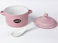 Супница керамическая с ложкой и крышкой