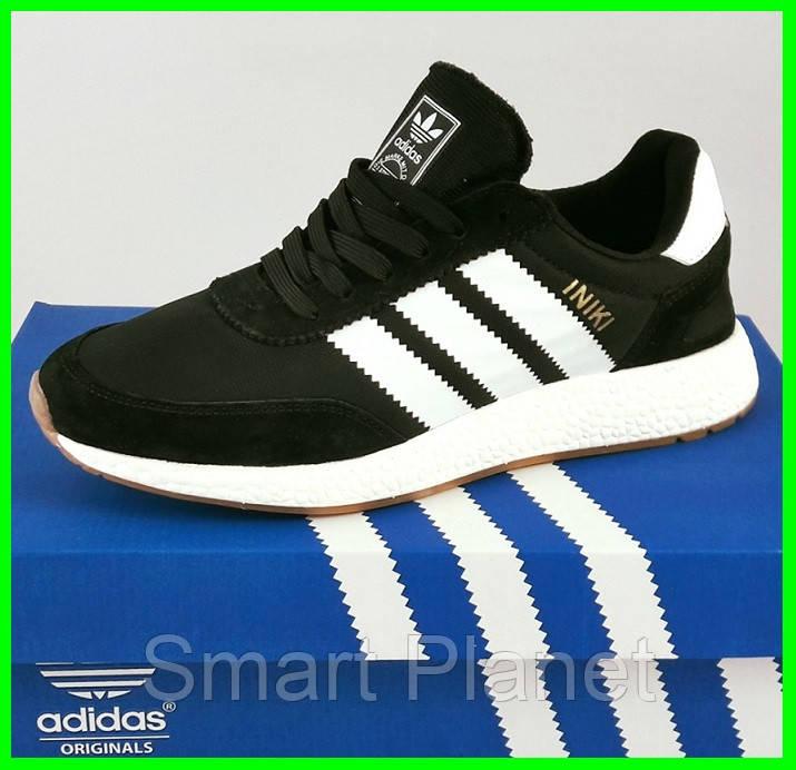 Кроссовки Мужские Adidas Iniki Runner Boost Чёрные Адидас (размеры: 46) Видео Обзор