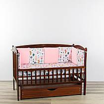 Бортики подушки лісова казка рожевого кольору з плюшем минки
