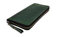 Кошелек мужской кожаный клатч большой travel SULLIVAN  kmk59-3(19.5) зеленый