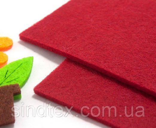 Плотный фетр 3мм толщина, 20х30см Цвет - Красный (сп7нг-1316), фото 2