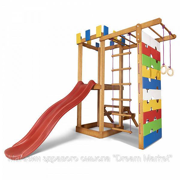 Дитячий ігровий дерев'яний спортивний комплекс-майданчик, гірка, гойдалка, кільця, сходи+сітка 207х236х187 см