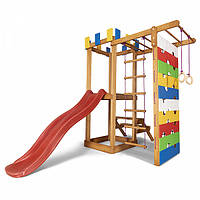 Дитячий ігровий дерев'яний спортивний комплекс-майданчик, гірка, гойдалка, кільця, сходи+сітка 207х236х187 см, фото 1