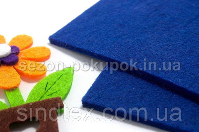 Фетр для хобби жесткий 3мм толщина, 20х30см Цвет - Синий (сп7нг-1318), фото 2