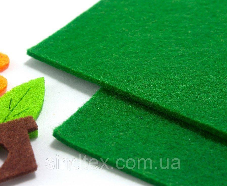 Фетр для аппликаций жесткий 3мм толщина, 20х30см Цвет - Зелёный (сп7нг-1322)