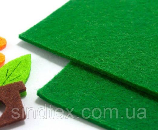 Фетр для аппликаций жесткий 3мм толщина, 20х30см Цвет - Зелёный (сп7нг-1322), фото 2