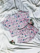 Пижама Трикотажная женская Футболка укороченная и   шортики Котята  Розовый  комплект