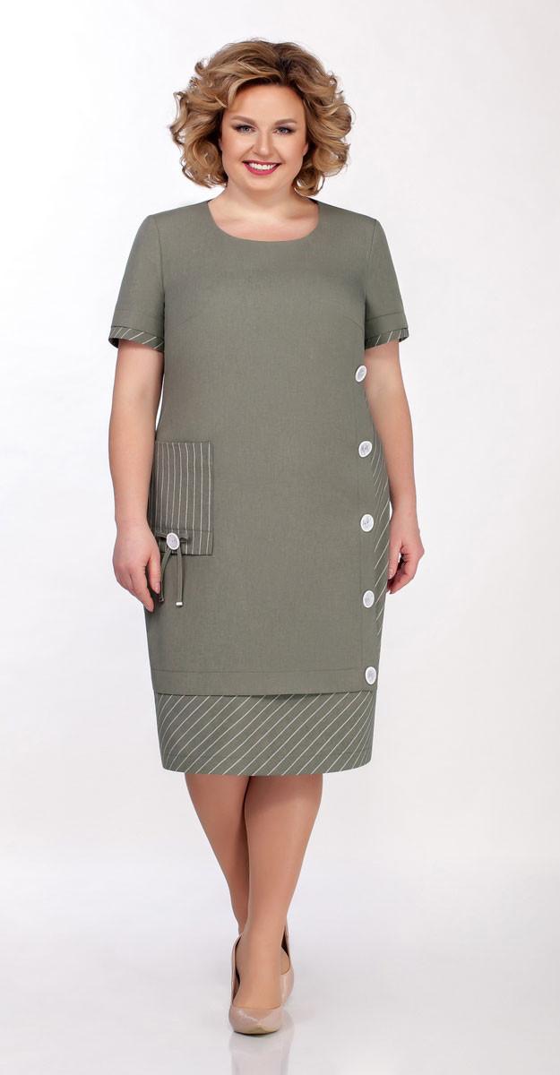 Платье Теллура-Л-1496 белорусский трикотаж, хаки, 58