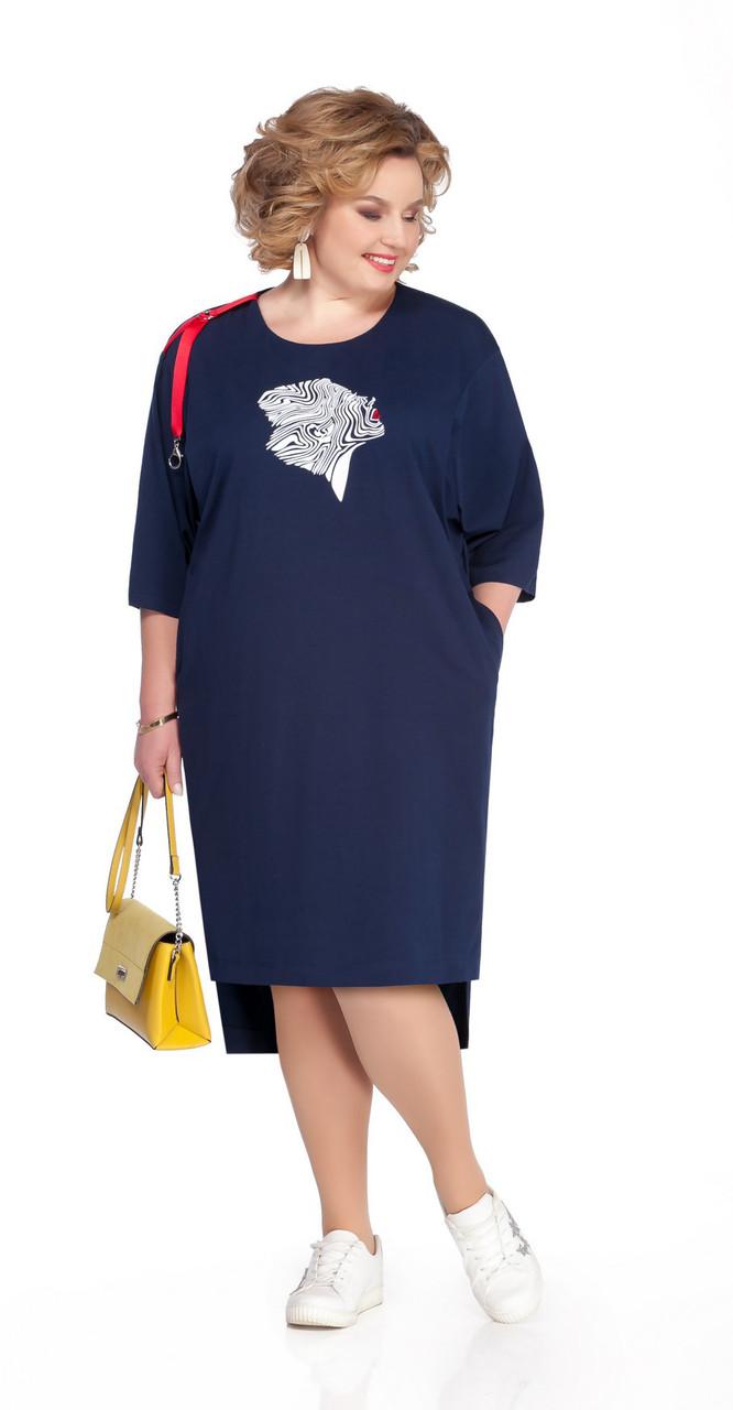 Платье Pretty-1075 белорусский трикотаж, тёмно-синий, 56