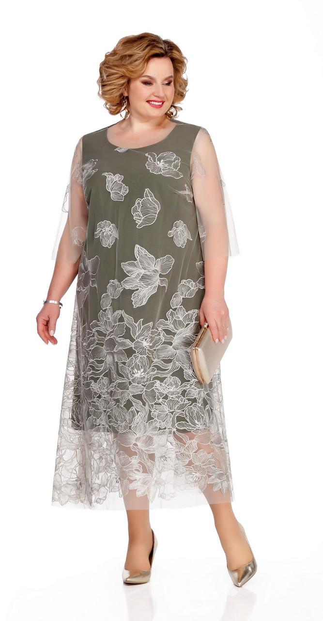 Платье Pretty-1077 белорусский трикотаж, молочный/хаки, 56