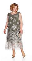 Платье Pretty-1077 белорусский трикотаж, молочный/хаки, 56, фото 1