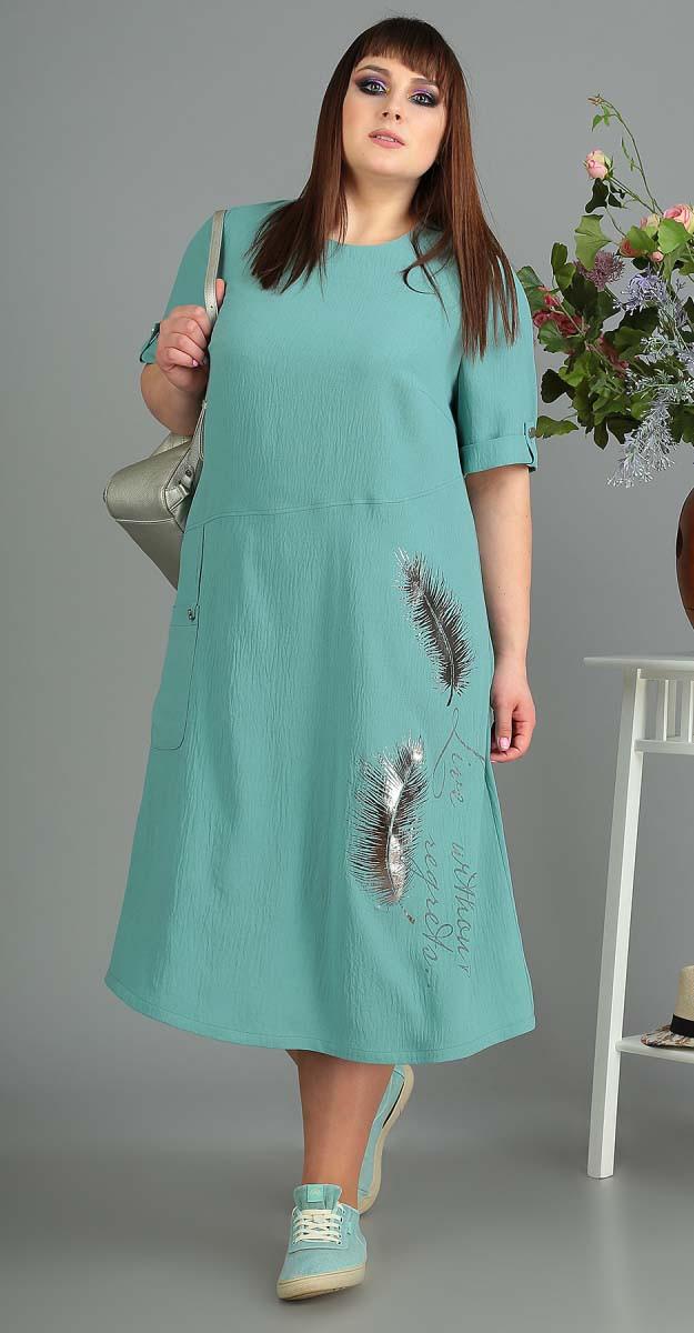 Платье Novella Sharm-3445 -C белорусский трикотаж, бирюза, 60
