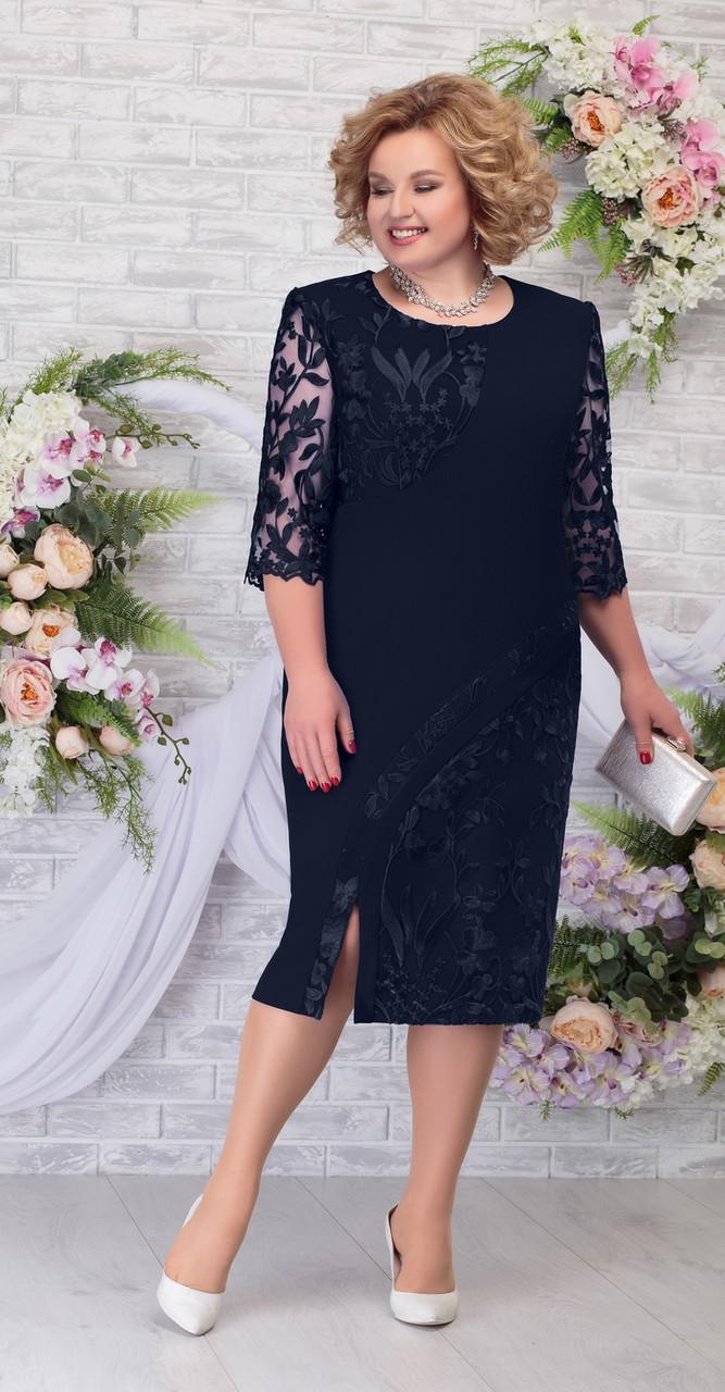 Платье Ninele-7288/3 белорусский трикотаж, темно-синий, 56