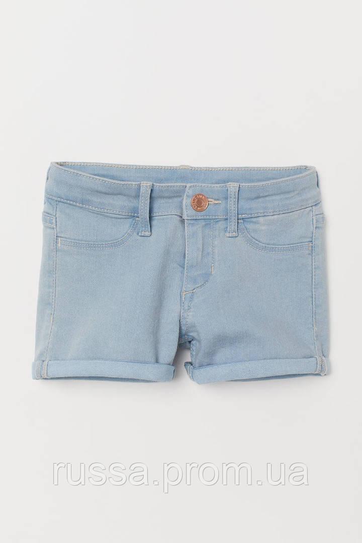Стрейчевые джинсовые шорты с отворотами на штанинах НМ для девочки