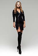 Мини-Платье с Вырезом и Красивым Декольте Черное S-XL