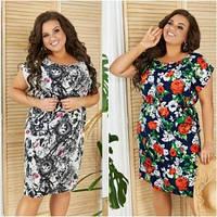 Женское летнее яркое платье больших размеров
