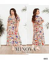 Летнее женское платье для полных женщин большого размера 52,54,56,58
