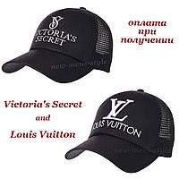Женская кепка бейсболка в сетку Victoria's Secret и Louis Vuitton на липучке, фото 1