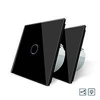 Комплект Сенсорный проходной диммер Livolo черный стекло (VL-C701H/C701H/S1B-12), фото 1