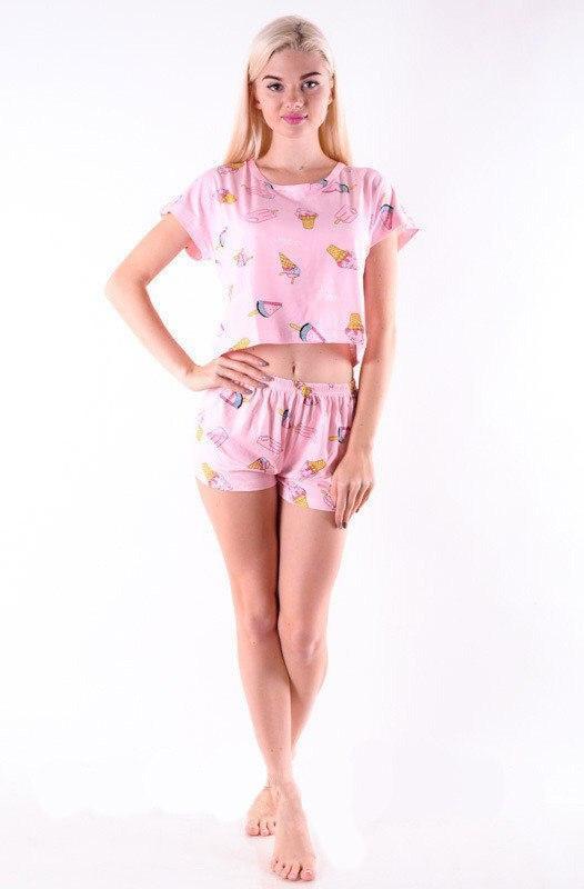 Женская пижама ( шорты + футболка ) Розовое Мороженное КАЧЕСТВО ТОП!!!
