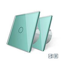 Комплект Сенсорный проходной диммер Livolo зеленый стекло (VL-C701H/C701H/S1B-18), фото 1