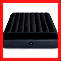 Надувной матрас-кровать полуторный Intex 64142 с подголовником, 191*137*25 см, черный