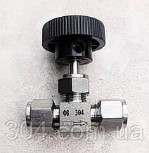 Кран нержавеющий игольчатый 8 мм, обжимной AISI 304