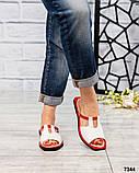 Босоножки-шлепки кожаные белые с красной окантовкой, фото 3