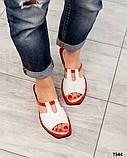 Босоножки-шлепки кожаные белые с красной окантовкой, фото 4