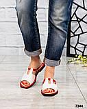 Босоножки-шлепки кожаные белые с красной окантовкой, фото 5