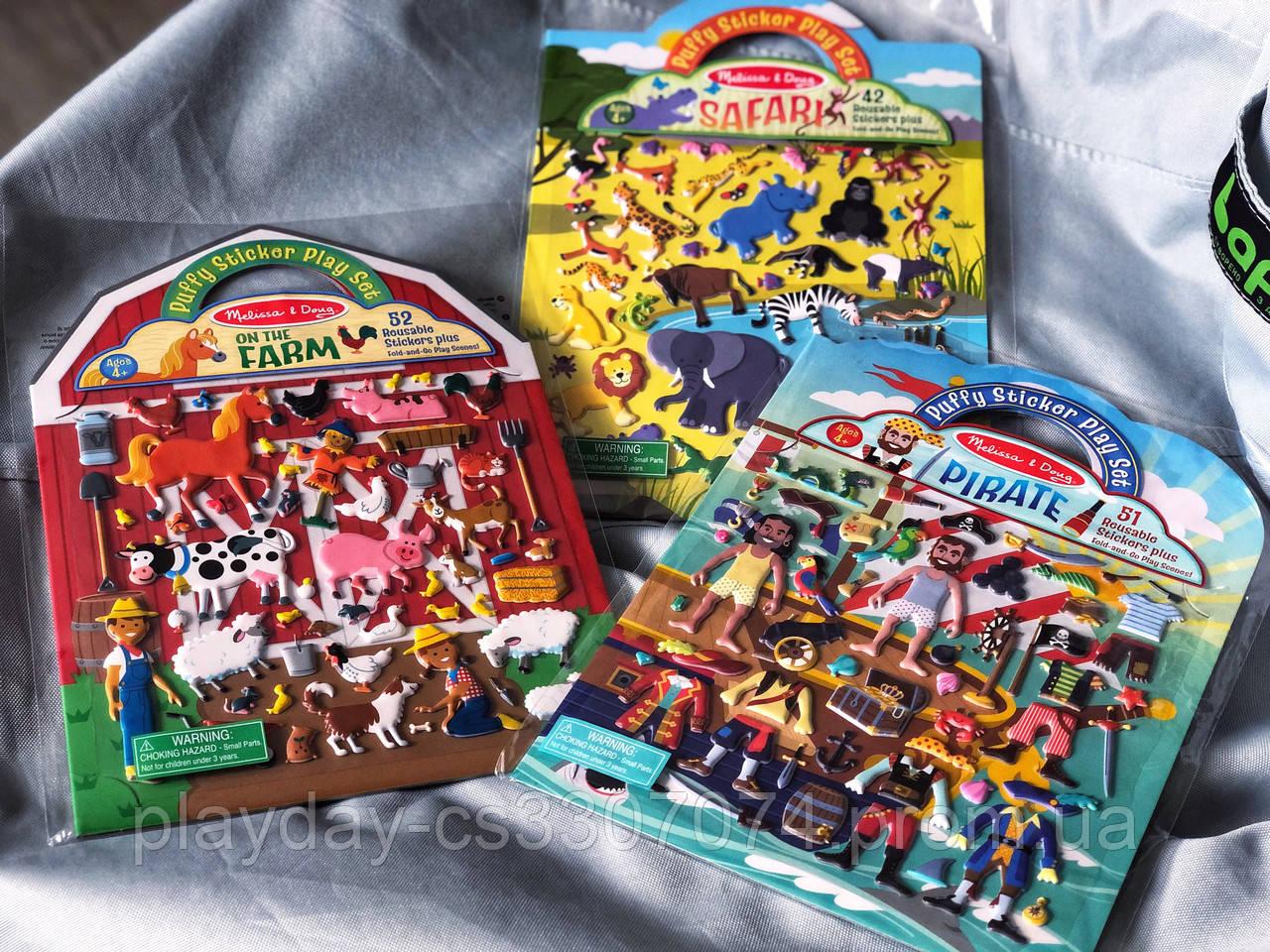 Многоразовые наклейки для девочек и мальчиков Ферма, Пираты Melissa & Dough