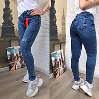 Женские стрейчевые джинсы скинни с эффектом потертости р-р. 26,27,28  Код 567Т