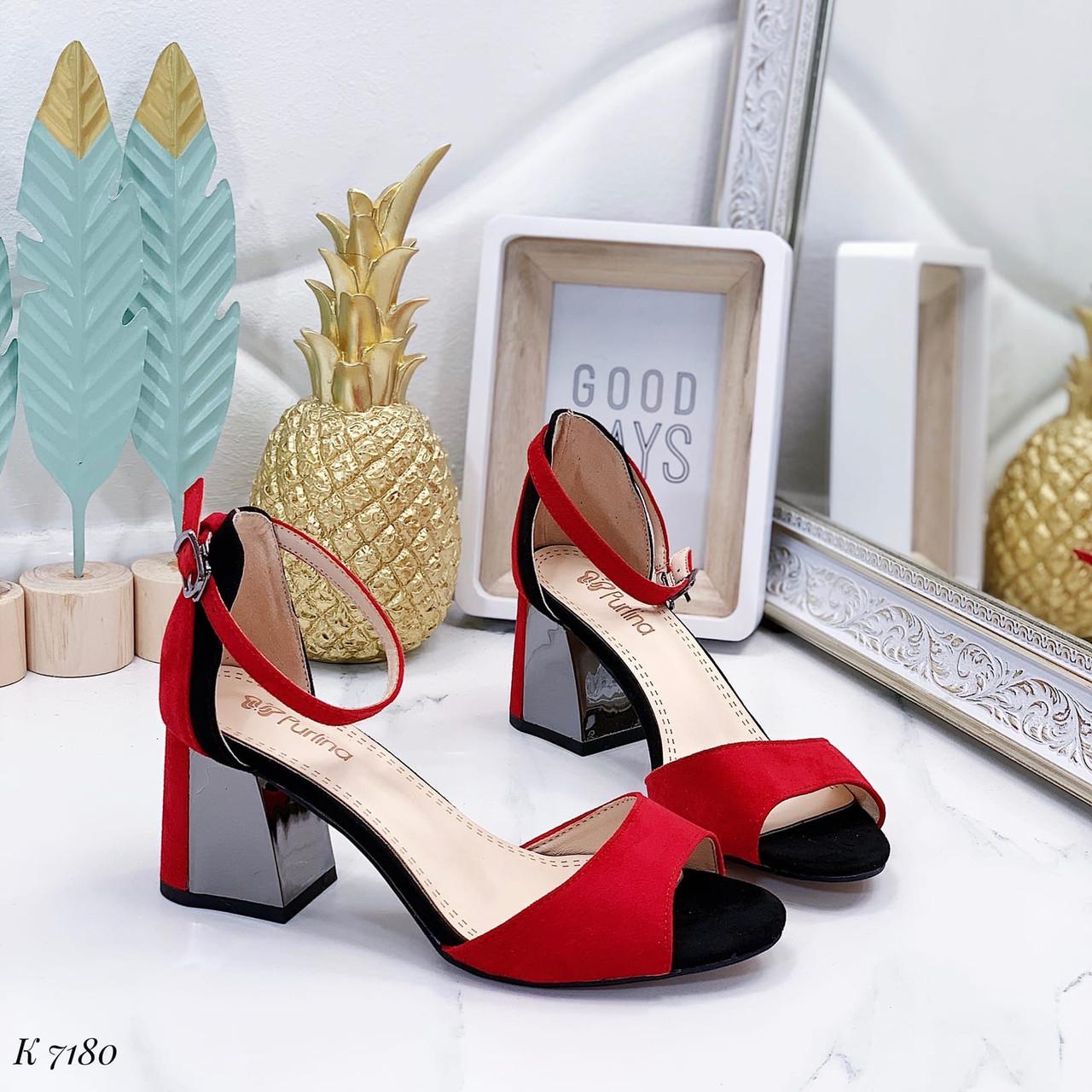 Босоножки женские красные на каблуке 6,5 см эко замша