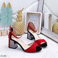 Босоножки женские красные на каблуке 6,5 см эко замша, фото 1