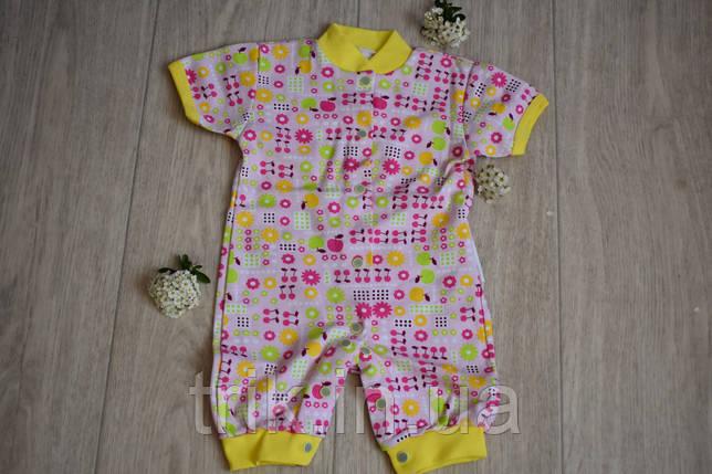 Комбинезончик с коротким рукавом для новорожденного розовый, фото 2