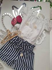 Супермодный подростковый комплект: блузка + шорты Размеры 140 - 164