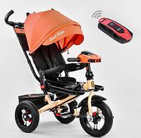 Детский трёхколёсный велосипед с пультом Best Trike 6088F-2230 с родительской ручкой, оранжевый