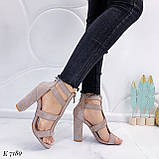 Только 38,40 р! Женские босоножки бежевые - беж на каблуке 10 см эко-замш, фото 3