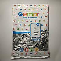 """Воздушные шары Gemar хром 13""""(33 см) серебряный 50 шт"""