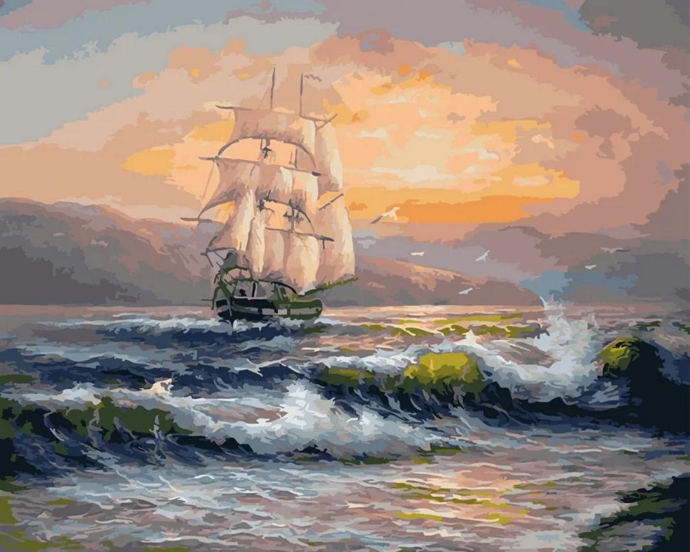 Картина по номерам Корабль на волнах