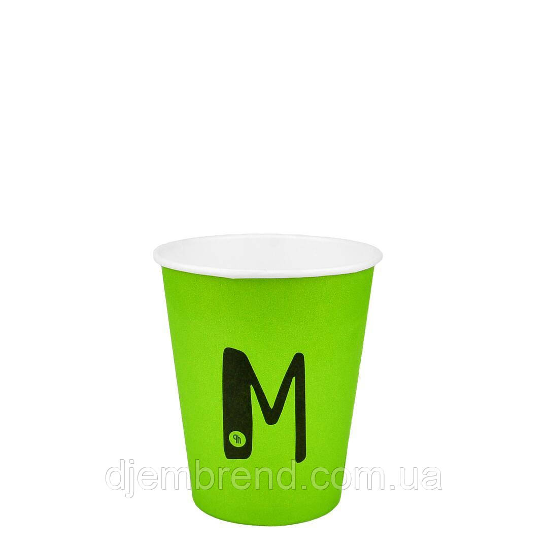 "Стакан бумажный ""M"" Зеленый 250мл. Евро 50шт/уп (FiB 80/КВ79/""РОМБ"" 79)"