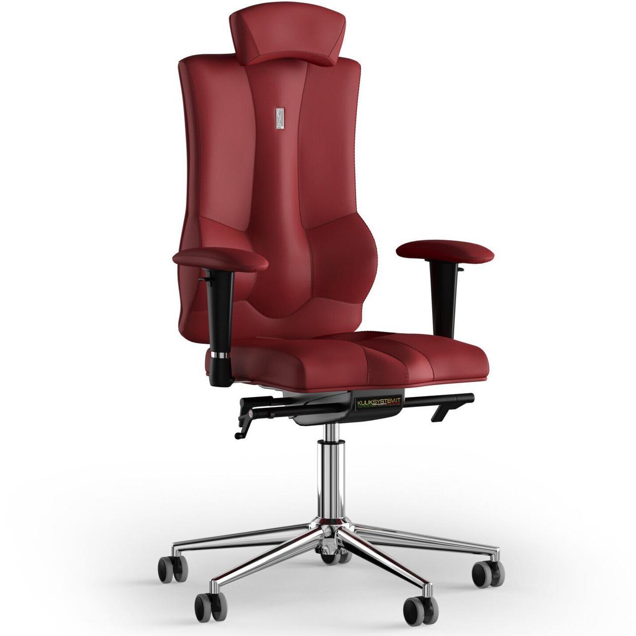 Кресло KULIK SYSTEM ELEGANCE Экокожа с подголовником без строчки Красный (10-901-BS-MC-0205)