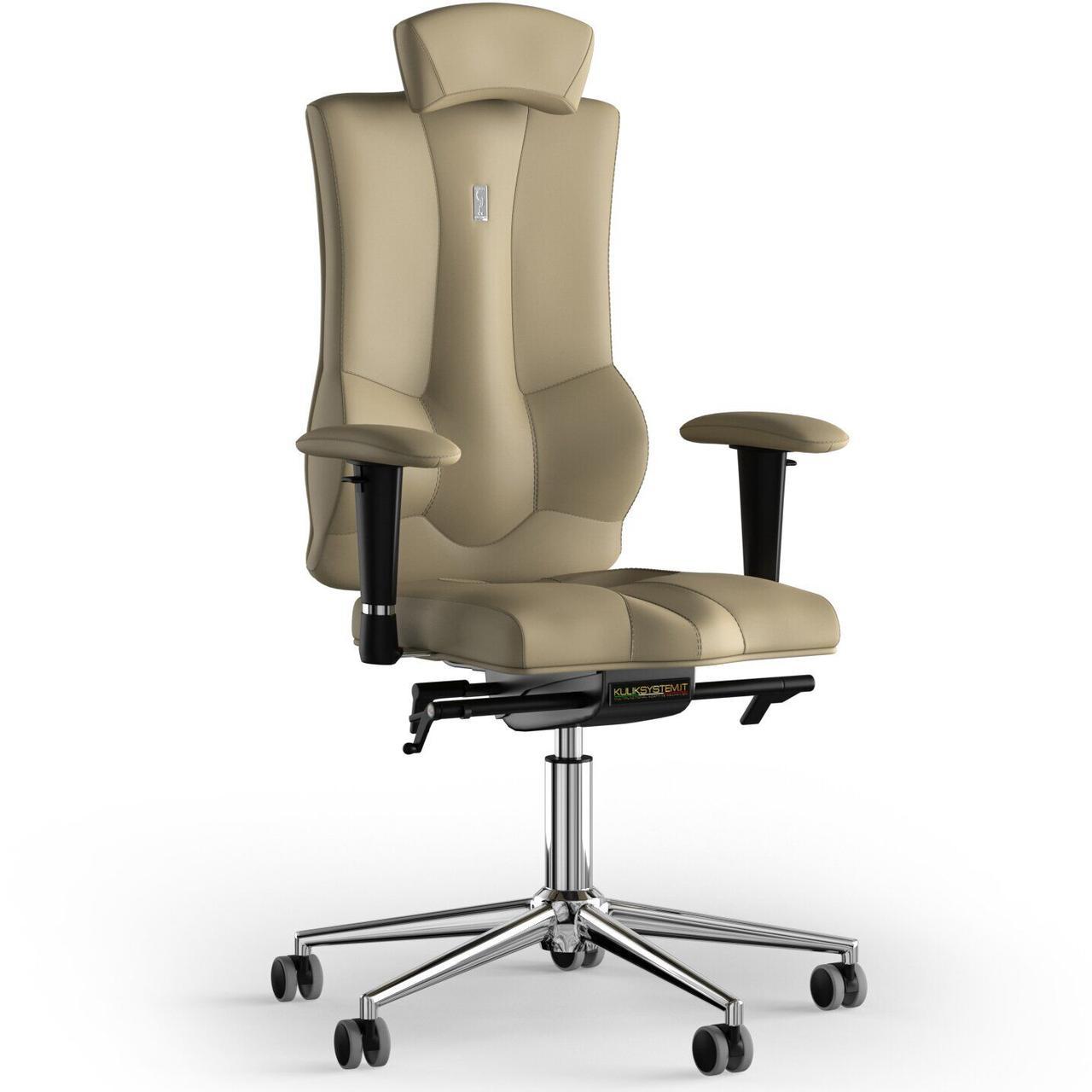 Кресло KULIK SYSTEM ELEGANCE Экокожа с подголовником без строчки Песочный (10-901-BS-MC-0212)