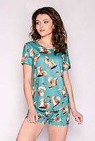 Женская хлопковая пижама ( шорты + футболка ) Лисички ( зелёный комплект ) Хлопок КАЧЕСТВО ТОП!!!