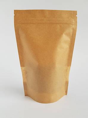 Пакет дой-пак 210х380 (крафт с окном) / 100шт, фото 2