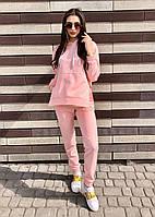 Женский спортивный костюм оверсайз свитшот худи брюки / спортивний жіночий костюм худі світшот штани рожевий